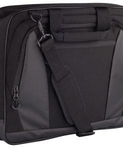 Zakelijke laptoptas met professionele uitstraling. De tas is voorzien van meerdere zakken en compartimenten inclusief een gewatteerd compartiment voor het veilig opbergen van een laptop. De tas is afgewerkt met een schouderband met ruimte voor het opbergen van een visitekaartje. De tas is gemakkelijk te bevestigen aan bijvoorbeeld een rolkoffer. Afmeting en volume: 40x32x11cm – 14L